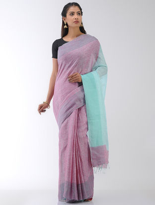 Pink-Sea Green Linen Saree