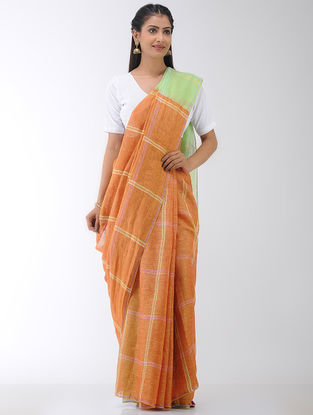 Orange-Green Linen Saree