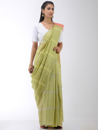 Green-Orange Linen Saree
