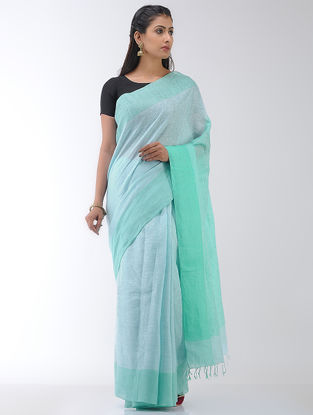 Sea-Green Linen Saree