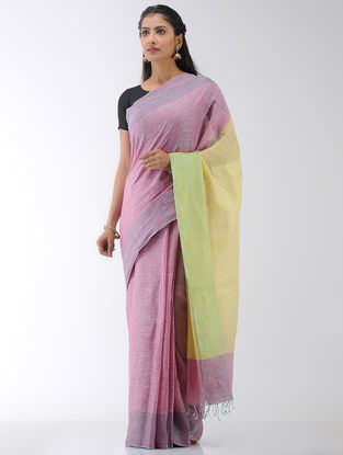 Pink-Yellow Linen Saree