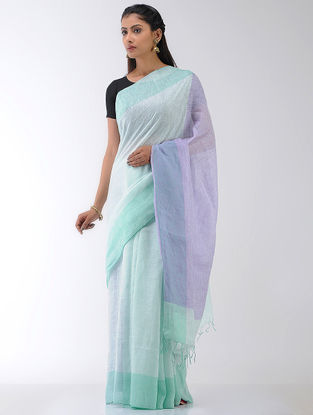Purple-Sea Green Linen Saree