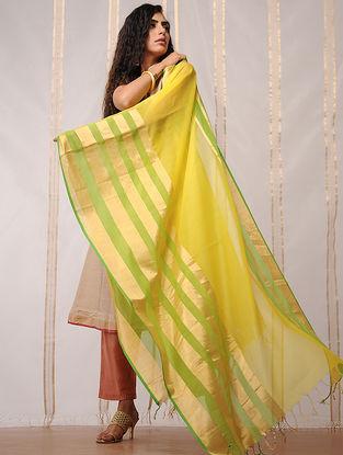 Yellow-Green Cotton Silk Dupatta by Jaypore