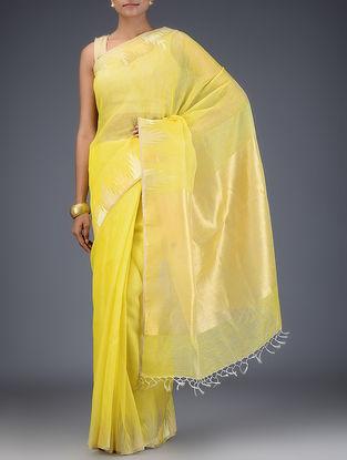 Yellow Silk Linen Saree with Zari