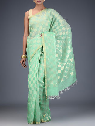 Green Silk Linen Check Saree with Zari