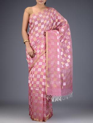 Pink Silk Linen Check Saree with Zari