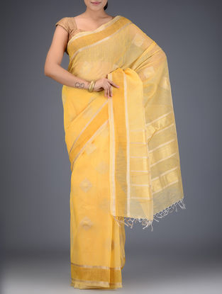 Mustard Silk Linen Saree with Zari