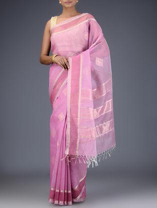 Pink Silk Linen Saree with Zari