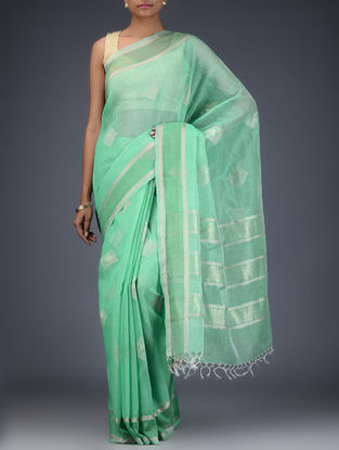 Green Silk Linen Saree with Zari