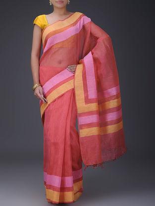 Red-Pink Silk Linen Saree