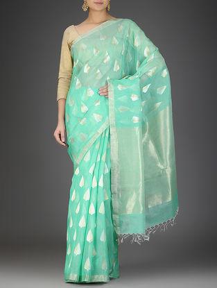 Sea Green Silk Linen Saree