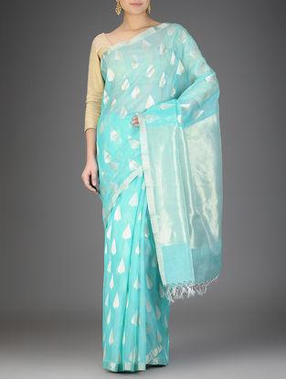 Blue Silk Linen Saree