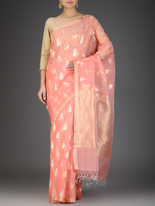 Coral Silk Linen Saree