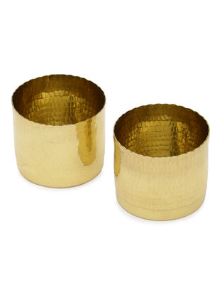 Noor Handcrafted Brass Tealight Holders (Set of 2)