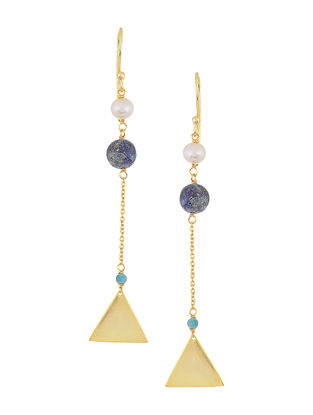 Turquoise and Lapis Lazuli Gold-plated Silver Earrings