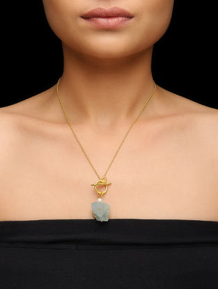 Aquamarine and Pearl Gold-plated Silver Necklace