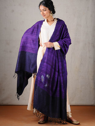 Purple Tussar Silk Dupatta with Mukaish