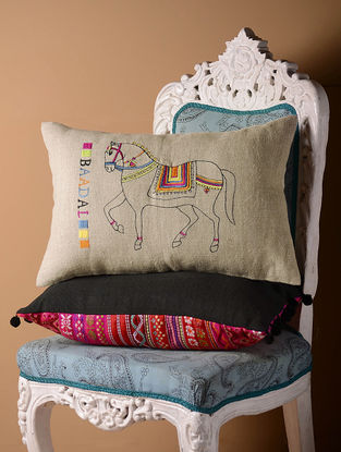 Grey Badal Flock Cushion Cover  21in x 14in