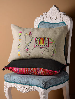 Grey Sundari Flock Cushion Cover  21in x 14in