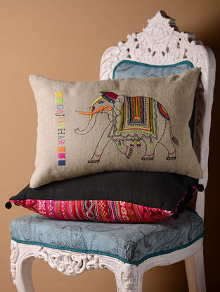 Grey Gajodhar Flock Cushion Cover  21in x 14in