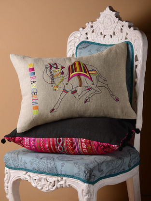 Grey Rangeela Flock Cushion Cover  21in x 14in