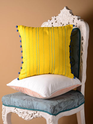 Yellow Solid Rice Stitch Cushion Cover  16in x 15.5in
