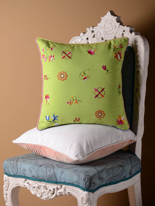Green Shabby Chic Cushion Cover  16in x 16in