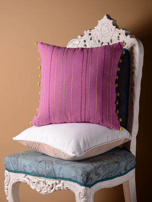 Pink Solid Rice Stitch Cushion Cover  16in x 16in