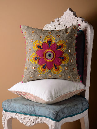 Grey Kutch Folk Center Motif Cushion Cover  16in x 16in