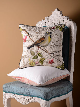 Multi-Color Sparrow with Berries Cushion Cover  15.5in x 15.5in
