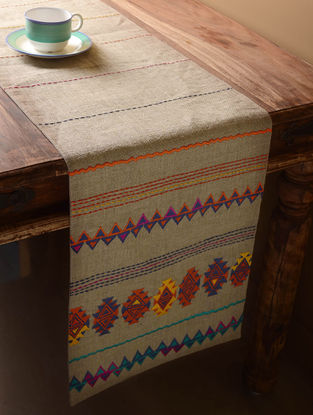Grey Kilim Folk Table Runner  72in x 13in