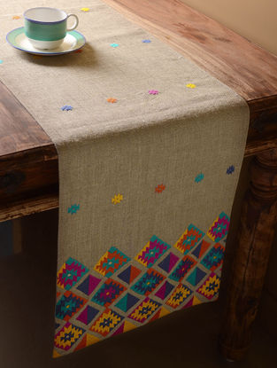Grey Kilim Folk Table Runner  72in x 14in