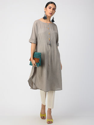 Grey Hand-dyed Cotton Kurta with Hand Embroidery