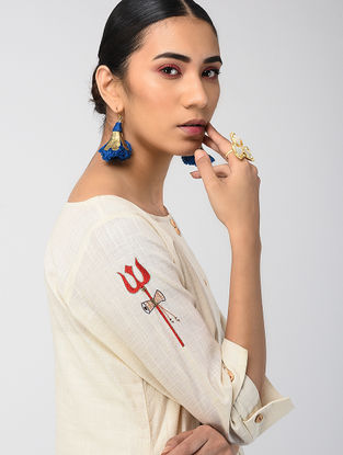 Ecru Hand-dyed Linen Cotton Kurta with Hand Embroidery