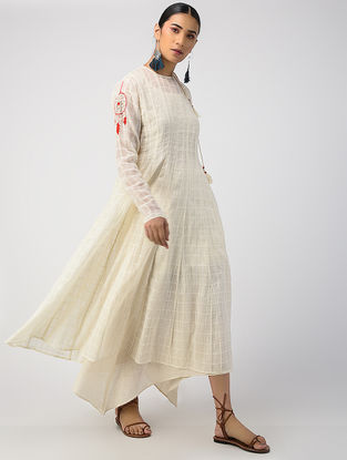 Ecru Hand-dyed Linen Cotton Kurta and Slip with Hand Embroidery (Set of 2)