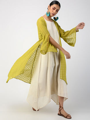 Green-Ecru Hand-dyed Linen Cotton Jacket and Slip with Hand Embroidery (Set of 2)