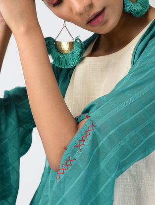 Teal-Ecru Hand-dyed Linen Cotton Jacket and Slip with Hand Embroidery (Set of 2)