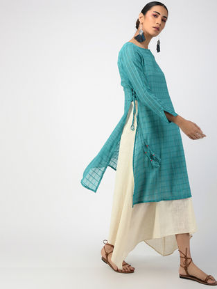 Teal-Ecru Hand-dyed Linen Cotton Kurta and Slip with Hand Embroidery (Set of 2)