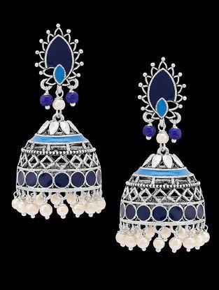 Azure Blue Enameled Pearl Jhumkis
