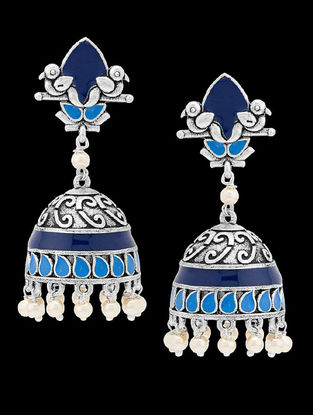 Azure Blue Enameled Pretty Jhumkis