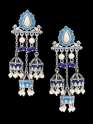 Azure Threesome Blue Enameled Earrings with Beads