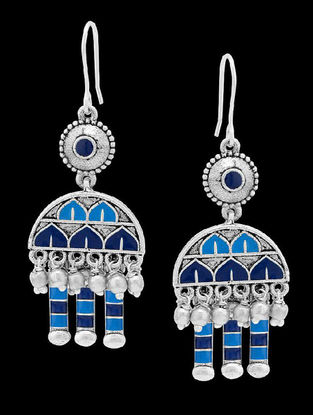 Azure Gumbaz Blue Enameled Earrings