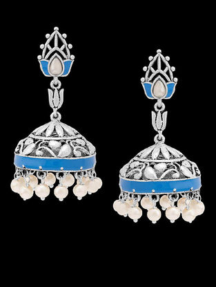 Azure Classic Blue Enameled Pearl Jhumkis