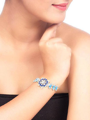Azure Sitara Blue Enameled Adjustable Bracelet