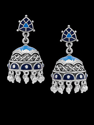Pearl Drop Blue Enameled Pearl Jhumkis