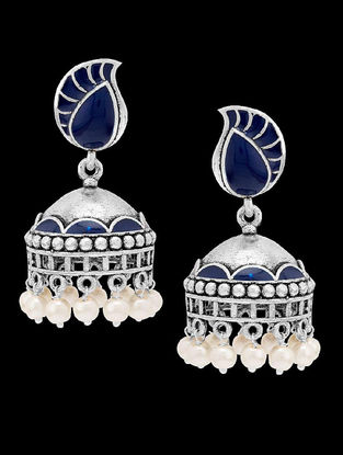 Azure Elegant in Blue Enameled Pearl Jhumkis