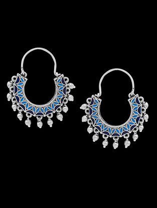 Azure Chand Ka Tukda Blue Enameled Earrings