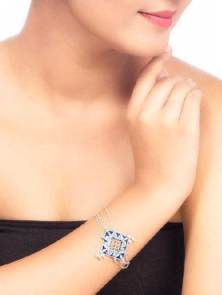Azure Geometrical Link Blue Enameled Bracelet