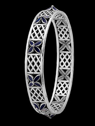Azure Floral Blue Enameled Bangle (Size - 2/6)