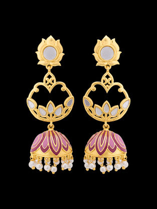 Purple Gold Tone Enameled Jhumkis with Lotus Design
